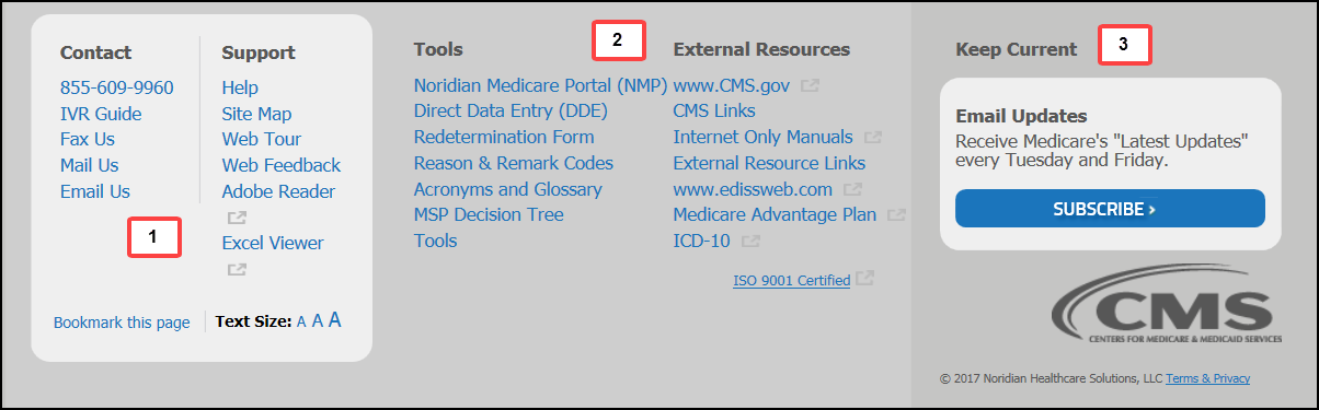 This image shows the footer of the Jurisdiction E Part A Noridian Medicare website.