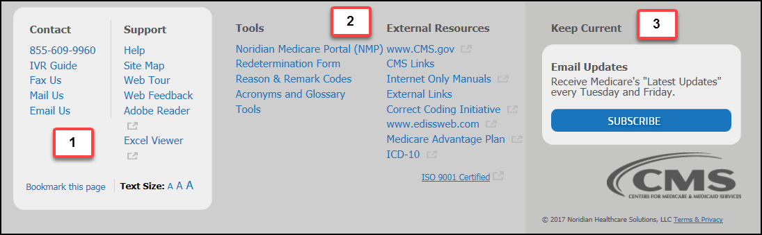 This image shows the footer of the Jurisdiction E Part B Noridian Medicare website.