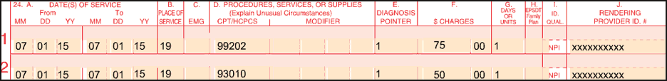 This image shows services billed on a UB04 claim for an off-campus provider based facility. The PO modifier was added to each line item date of service.