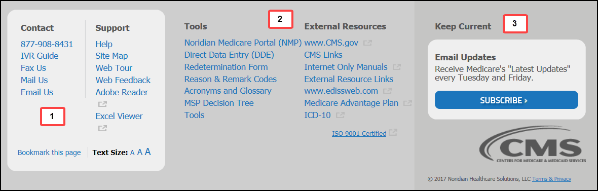This image shows the footer of the Jurisdiction F Part A Noridian Medicare website.