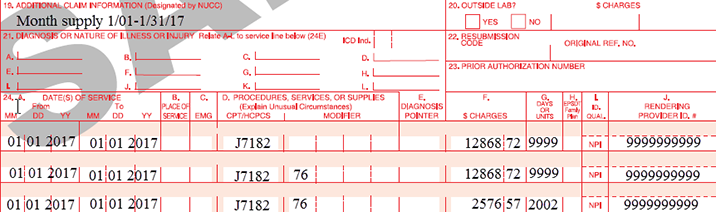 Image of CMS-1500 Claim Form.  Three lines (Items 24s-24g) are completed as an example. All lines contain J7182. Lines one and two contain 9999 units and the third line contains 2002 units. Modifier 76 has also been appended to the second and third lines.