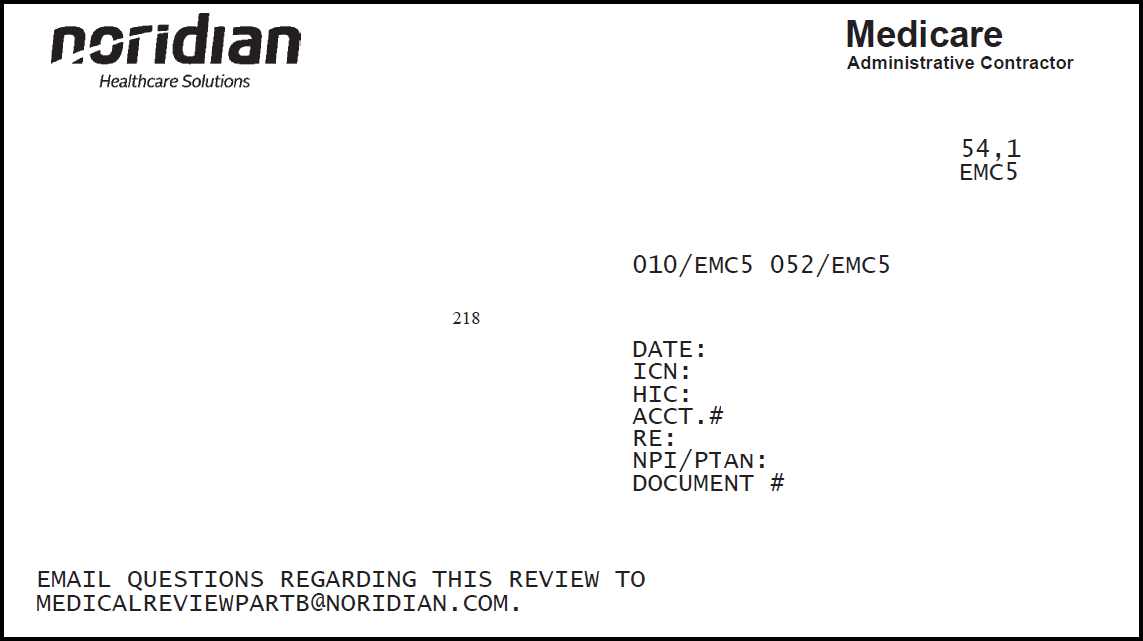Example of Noridian demand letter. The Noridian logo and address is in the upper left-hand corner, the provider address is just below the logo, and the Internal Control Number (ICN) that identifies Noridian Medicare Part B as the reviewing contractor is included to the left of the provider address.