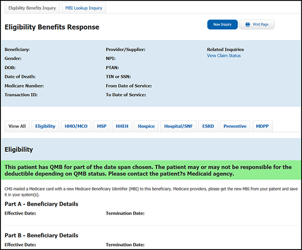 This image shows the Eligibility response screen with a green banner indicating the beneficiary is a QMB enrollee.