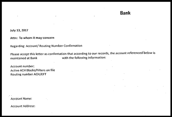 This image is of a bank letter which contains required elements such as the bank's letterhead, routing and account number, type of account, full legal business name as the account name as well as the bank officers name and signature.