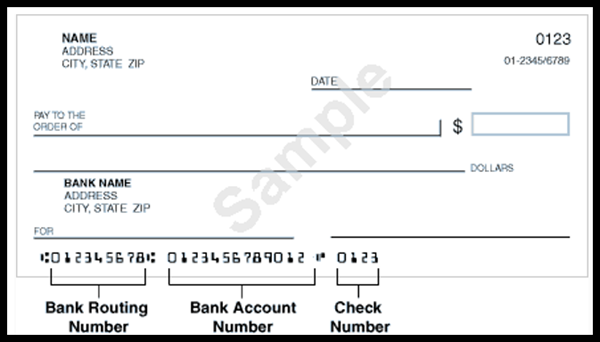 Image of example of voided personal check. Included bank routing number, account number and check number.