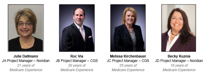 Julie Dallmann JA Project Manager – Noridian 21 years of Medicare Experience - Roc Via JB Project Manager – CGS 20 years of Medicare Experience - Melissa Kirchenbauer JC Project Manager – CGS 25 years of Medicare Experience - Becky Kuznia JD Project Manager – Noridian 18 years of Medicare Experience