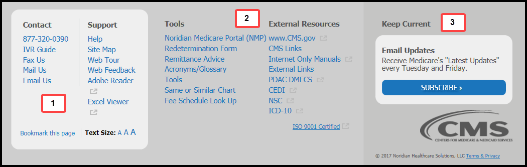 This image shows the footer of the Jurisdiction D Noridian Medicare website.