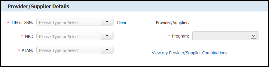 Screenshot of  Provider Supplier Details selection screen