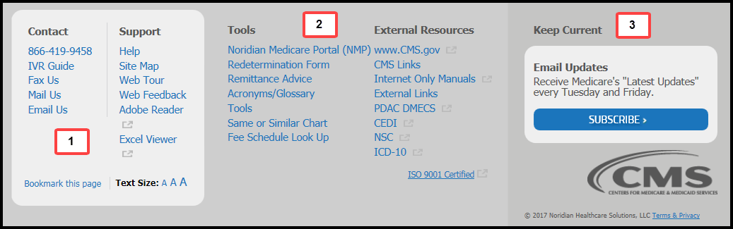 This image shows the footer of the Jurisdiction A Noridian Medicare website.